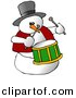 Clipart of a Cartoon Snowman Playing Drums by Djart