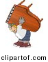 Clipart of a Cartoon Strong Man Moving Piano by Djart