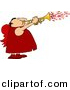 Clipart of a Cartoon Valentine Cupid Man Blowing Love Hearts out of a Trumpet by Dennis Cox