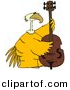 Clipart of a Cartoon Yellow Bird Playing a Bass by Djart