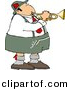 Clipart of a Catoon German Man Playing Trumpet by Dennis Cox
