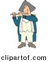 Clipart of a Catoon War Man Playing Flute by Dennis Cox