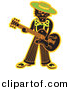 Clipart of a Cool Cartoon Black Cat Playing a Guitar by Andy Nortnik
