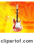 Clipart of a Electric Guitar over Flaming Orange Yellow Background by