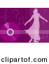 Clipart of a Girl Dancing over Purple Background with Vinyl Record and Music Notes by