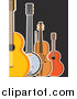 Clipart of a Guitar Banjo Violin and Ukulele on Black by Maria Bell