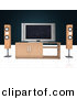 Clipart of a Home Theatre Setup with Widescreen Tv by Andresr