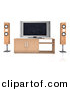 Clipart of a Home Theatre System with Wood Speaker Towers and a Widescreen Tv by Andresr