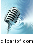 Clipart of a Microphone over a Rippling Water Background by Tonis Pan