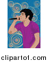 Clipart of a Performing Male Singer over Blue and Spirals by Mayawizard101