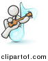 Clipart of a White Man Musician Sitting on a Music Note and Playing a Guitar by Leo Blanchette