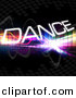 Clipart of Dance Text Within Bright Colorful Squares on a Black Background by Arena Creative