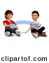 Clipart of Happy 3d Kids Sharing Music with Their Cell Phones by