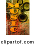 Clipart of MUSIC Word over Speakers on Rusty Background by Chrisroll