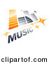Vector Clipart Logo of Music Equalizer with Stars and Sample Text - Orange and Gray Version by Beboy