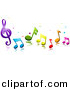 Vector Clipart of 3d Colorful Music Notes and Stars by BNP Design Studio