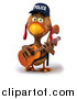 Vector Clipart of a 3d Brown Police Chicken Guitarist by Julos