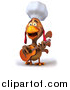 Vector Clipart of a 3d Cartoon Rooster Chef Posing with a Guitar by Julos