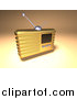 Vector Clipart of a 3d Gold Retro Metal Radio by Julos