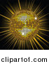 Vector Clipart of a 3d Golden Shiny Disco Ball Spinning over a Bursting Black and Yellow Background by Elaineitalia