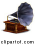 Vector Clipart of a 3d Music Phonograph by Ralf61