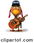 Vector Clipart of a 3d Police Chicken Guitarist by Julos