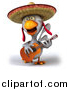 Vector Clipart of a 3d White Mexican Chicken Playing a Guitar by Julos