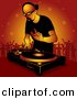 Vector Clipart of a Bald DJ Man Playing Dance Music to Crowd of Party People by Dero