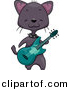 Vector Clipart of a Black Cartoon Cat Playing Green Guitar by BNP Design Studio