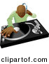 Vector Clipart of a Black DJ Mixing Hip Hop Records by Geo Images