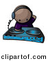 Vector Clipart of a Black Dj Mixing Records at a Dance Party by Leo Blanchette
