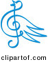 Vector Clipart of a Blue Bird Music Note Symbol by Any Vector