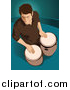Vector Clipart of a Bongo Drum Player over Teal by Mayawizard101