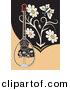 Vector Clipart of a Bouzouki with Flowers and a Butterfly by Any Vector