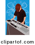Vector Clipart of a Boy Playing Electronic Keyboard by Mayawizard101