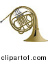 Vector Clipart of a Brass French Horn by Leonid