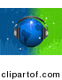 Vector Clipart of a Bright Blue Disco Globe Wearing Headphones over a Green and Blue Equalizer Background by Elaine Barker