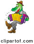 Vector Clipart of a Cartoon Alligator Playing an Accordion by Alex Bannykh