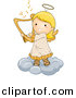 Vector Clipart of a Cartoon Angel Girl Playing Harp While Standing on a Cloud by BNP Design Studio