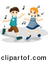 Vector Clipart of a Cartoon Boy and Girl Dancing to Music Notes by BNP Design Studio