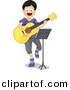 Vector Clipart of a Cartoon Boy Playing a Guitar While Sitting Behind a Stand with Sheet Music by BNP Design Studio