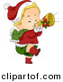 Vector Clipart of a Cartoon Christmas Baby Playing a Trumpet by BNP Design Studio