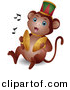 Vector Clipart of a Cartoon Circus Monkey Playing Cymbals by BNP Design Studio