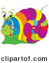 Vector Clipart of a Cartoon Colorful Snail Listening to Music with Headphones by Alex Bannykh