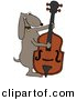 Vector Clipart of a Cartoon Dog Playing a Bass Fiddle by Dennis Cox