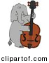 Vector Clipart of a Cartoon Elephant Playing Double Bass by Dennis Cox