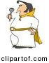 Vector Clipart of a Cartoon Elvis Impersonator Dancing and Singing with a Microphone by Dennis Cox
