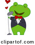 Vector Clipart of a Cartoon Frog Singing Love Songs by BNP Design Studio
