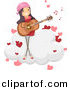 Vector Clipart of a Cartoon Girl Singing Playing Guitar While Singing Love Song on a Cloud by BNP Design Studio