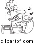 Vector Clipart of a Cartoon Guy Singing Karaoke - Coloring Page Outline by Toonaday